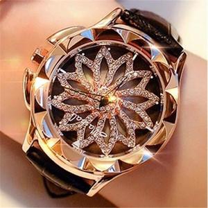 Watch Women Rhinestone Watches Ladies Watch Leather Band Big Dial Bracelet Wristwatch Crystal Women Watch Relogio Feminino clock