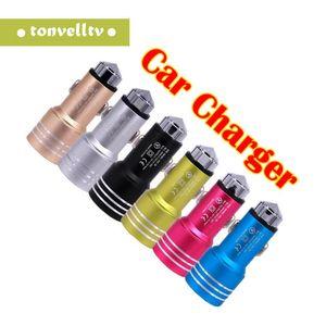 Car Phone Charger Dual USB Car Charger Segurança Martelo Carros One For Two USB PORT 2A Multi-função Carregadores de carro