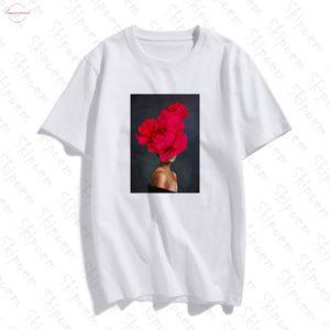 Photography Art Fashion Sexy Woman With Petal Sleeve Flower T Shirt Women Aesthetic Kawaii Cotton Plus Size Top Tees Streetwear