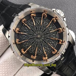 ZF Top versión Excalibur 45 RDDBEX0495 Doce Caballeros de la Ronda de mesa Dial Miyota 9015 Mens automático del reloj de acero relojes de diseño de piel