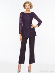 2020 Lace Chiffon Mother Of The Bride Pant Suits For Weddings Mothers Formal Two Pieces Long Sleeve Pants Suits Custom made