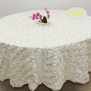 Wholesale White color 2.6 m Wedding Round Table Cloth Overlays 3D Rose flowers Tablecloths for Banquet Wedding Party Decoration