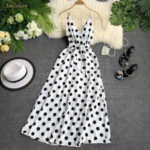 Smlinan Summer Print Polka Dot Bohemia Long Dress Women V Neck Sleeveless Spaghetti Strap Sexy Beach Dress Club Party Dresses