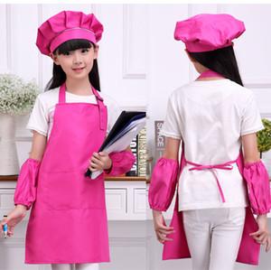 Enfants art Tabliers de cuisine Waists 9 couleurs avec enfants Tabliers SleeveChef Chapeaux pour la peinture de cuisson de cuisson imprimable LOGO Adorable 4pcs / set