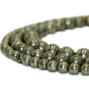 Round Natural Stone Beads Pyrite Gemstone Energy Stone Healing Loose Beads for Women Bracelet DIY Jewelry Making 1 Strand 4 6 8 10mm