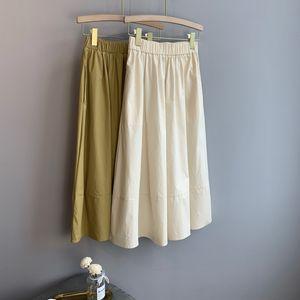 Verão New Saia fêmea do meados de comprimento coreano cintura alta era magro A Linha Umbrella Skirt