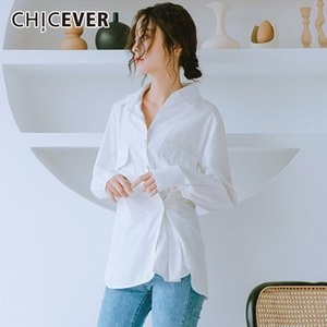 CHICEVER Spring Women Shirt Square Collar Long Sleeve Irrgular Hem Button Pockets Loose Slim Female Top Blouse 2019 Fashion New