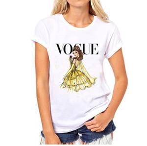 VOGUE punk camiseta con estampado de princesa 2016 de moda de verano camiseta de las mujeres Harajuku manga corta camisetas casuales lovrly tops
