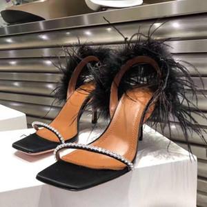 Pelle perfetta ufficiali di qualità Amina Muaddi pelle scamosciata Adwoa Sandalo In Black Feather Crysta Women Shoes Satin Sandali