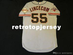 Billig! Majestic SAN FRANCISCO # 55 Tim Lincecum COOL BASE Jersey Herren genähtes Großhandel groß und hoch Größe XS-6XL Baseball-Shirts