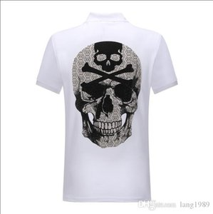 2019 desgaste de algodão dos homens de grande tamanho Atacado T-shirt camisa de lapela polo verão de manga curta Phillip Plain frete grátis # 4402