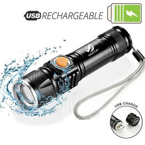 Poderosa lanterna LED Com USB cauda carregamento Chefe zoomable modos impermeável tocha portátil luz 3 iluminação Built-in bateria