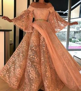 Robes de soirée robe de bal Yousef Aijasmi à manches longues Jupe bouffante à l'épaule Robe de soirée en dentelle Zuhair Murad Kim kardashian