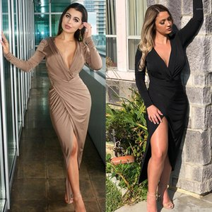 Womens Dresses Solid Color Split Skinny Women Dress Summer Long Sleeve Casual Ladies Clothing Sexy V Neck