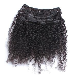 3B 3C Кудрявый вьющийся зажим для наращивания человеческих волос Монгольские заколки Nautral Color Full Head 9 шт. Один комплект Remy Hair 120G