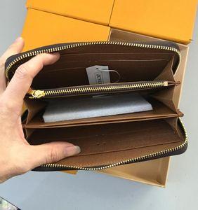 Venta al por mayor 6 colores famosa marca moda solo cremallera diseñador hombres mujeres cuero billetera señora ladies largo bolso con caja naranja 60017