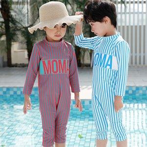 momasong детских мальчиков цельных Харлан брюки для девочек, полосатые с длинными рукавами Diving плавать купальник солнцезащитное серфинг гидрокостюм