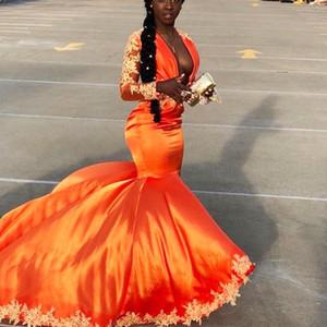 Black Girl Sereia Vestidos de Baile 2019 Laranja Mangas Compridas Lace Apliques De Cetim Cocktail Party Vestidos Meninas Pageant Formal Wear