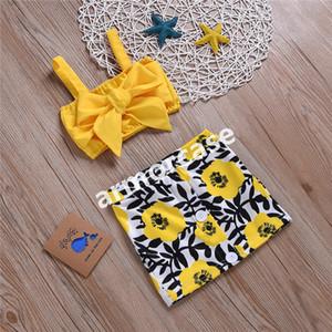 2020 d'été pour enfants Filles Robes Costumes Princesse mignonne bowknot bretelles Tube Tops + imprimé floral Mini-jupe deux pièces Vêtements Ensembles CZ317