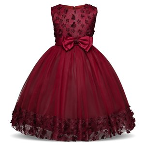 Flower Girls Dress For Wedding Children Clothing Christmas Party Prom Gown Tutu Bow Decoration Teen Girl Kids Clothes 10 Years