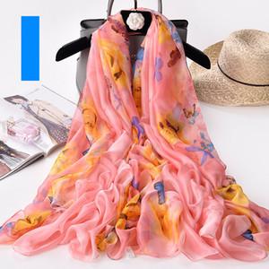 200*140cm Fashion Silk Scarves Shawl Women Chiffon Beach Towel Blanket Floral Print Summer Sunscreen Wraps Girl Riding Scarf GGA3376-4