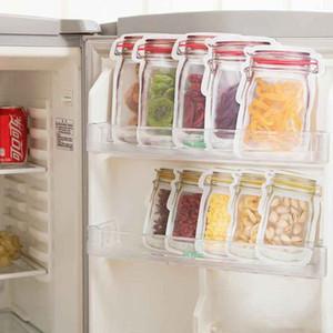 Безопасные Мешки Хранения Молния Пластиковые Мейсон Jar Shaped Пищевой Контейнер Resuable Экологически Чистые Сумки Закуски Горячей Продажи