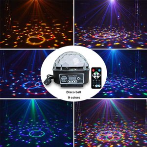 Disco Stage Lighting Digital DMX512 LED RGB Crystal 9 colores stage Magic Ball Effect Light Control automático de sonido LED lámpara de efectos