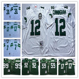 NCAA Vintage Jersey Randall Cunningham Harold Carmichael Seth Joyner Reggie Montgomery Blanc Vert Stitched Football Maillots Hommes