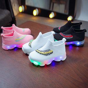 Kids Shoes ChildrenBaby Girls Boys Feather Mesh Led Luminous Socks Sport Run Sneakers Casu Children Shoes sapato infantil