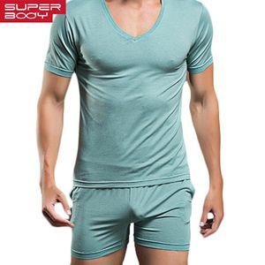Camiseta de los hombres Conjunto para hombre ropa de noche atractiva de la ropa interior del pijama de algodón camisetas Las camisetas las camisetas de manga corta Casual Marca boxeadores