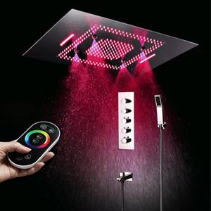 욕실 위생 도자기 60x80cm 천장 샤워 빗 물 폭포 안개 낀 샤워 헤드 및 4 기능 온도 조절 샤워 전환기 설정
