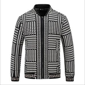 Esplosione nuovi uomini giacca con zip ricamo VERSACE elastico Marca polsini Luxury Design leggero ricamo 3D Print Jacket