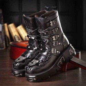 고딕 양식의 남성 블랙 가죽 마틴 부츠 라운드 발가락 펑크 오토바이 육군 잘 생긴 전투 부츠 고트 신발