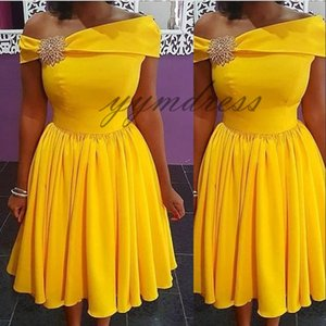 homecoming Dresses 2019 yellow One-Shoulder Neck Skater cute lace a-line sleeveless zipper back prom dresses short occasion gown