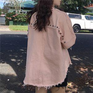 Rivet Spring Denim Jacket Casual Loose Jeans Jacket Women Long Sleeve Plus Size Women Bomber Jacket Autumn Womens Regular Denim Coat