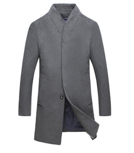 Winter Men Solid Trench Coats Lapel Neck Long Coats Button Business Style Fashion Hoome Clothing