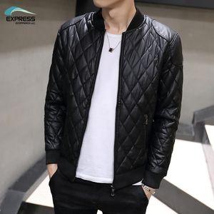 FAVOCENT 2018 autunno e inverno moda uomo giacca in pelle collo Slim lavato pu giacca in pelle cappotto trapuntato M-3XL