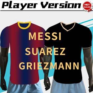 2021 Player Version # 10 MESSI # 17 Griezmann weg schwarzer Fußball Jersey 20/21 Hause rot camise # 21 F.DE JONG Customized Fußball Uniformen