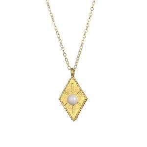 Abundance Rhombus Sun pattern Pendant Necklace For Women Fashion Jewelry Gold Silver Color Wish Card Necklace Choker