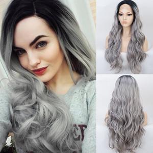 Raízes Ombre longa cinzenta ondulado peruca sintética peruca dianteira do laço de prata preto para perucas cinza para mulheres de meia Parte Calor fibra resistente macia