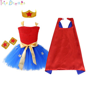 1 Set Wonder Girl Tutu Dress Brave Super Girls Supereroe Eroe Tema Festa di compleanno Abiti Costume di Halloween per bambini J190514