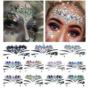 Elmas Etiket Kadınlar Için Bohemia Stil Glitter Kristal Dövme Çıkartma Yüz Alın Paster Düğün Süslemeleri 11 stilleri RRA1462