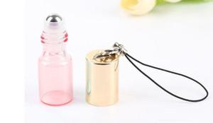5ml Pendentif de Perles Couleur Rollon Bouteille Roller en Métal Huile Essentielle vide parfum en verre Fioles Porte-clés Bouteilles en verre à rouleaux GBN