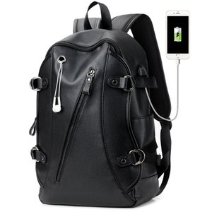 16 Inch Laptop Backpack PU Leather Buiness Backpacks for Men Casual School Bag Male Large Capacity Double Shoulder Bags