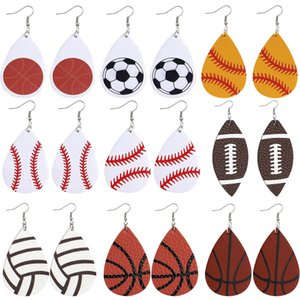 Hot Sell Water Drop PU Leather Earrings Printed Football Basketball Rugby Volleyball Earring Dangle Double-sided Ear Hook Eardrop For Women