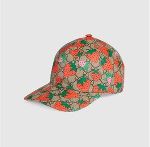Estate 2020 il cappello di alta qualità protezione del cappello classico di fragola del ricamo di modo di baseball sole casuale delle donne della visiera gora tappo