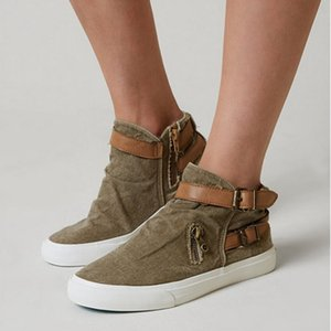 Women's Walking Shoes Belt Buckle Zipper Fashion Slip-on Shoes Feamle Outdoor Casual Canvas Footwear 2019 Spring Fashion