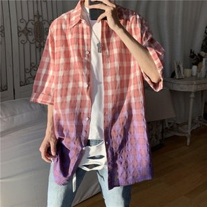 2020 Summer New Youth Popular Men's Color Matching Lattice Five-point Sleeve Shirt Fashion Casual Loose Shirt Jacket M-2XL