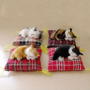 ecoration Crafts Figurines & Miniatures Creative Decoration Simulation Mini Cat Cute Cloth Pad Plush Cats Children Birthday Gifts Imi...
