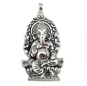 20 Pz lega Religione Thailandia Ganesha Buddha elefante Charms argento antico Pendente di fascini per la collana Monili che fanno scoperte 62x32mm